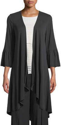 Lumie Flare-Sleeve Jersey Duster Cardigan, Black