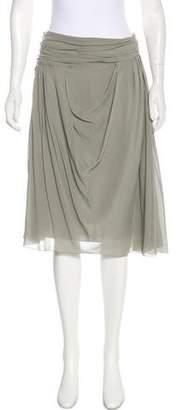 John Galliano Silk Knee-Length Skirt
