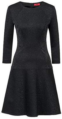 HUGO BOSS Regular-fit dress in sparkly fabric with long sleeves