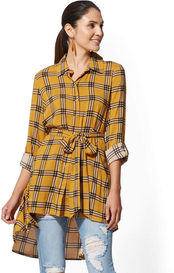 New York & Company Yellow Plaid Hi-Lo Tunic Shirt