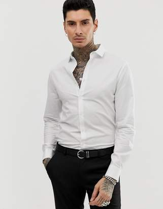 Asos Design DESIGN smart stretch slim fit oxford shirt with double cuff