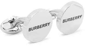 Burberry Logo-Engraved Silver-Plated and Enamel Cufflinks - Men - Silver