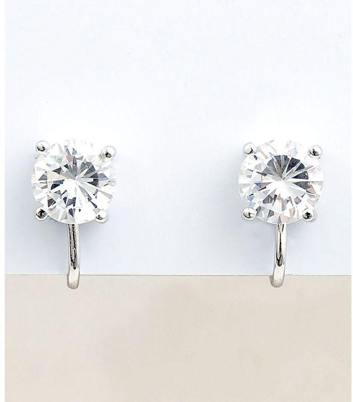 Carolee cz stud clip-on earrings