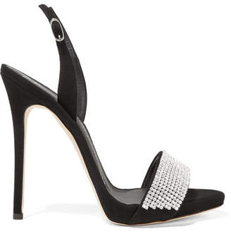 Giuseppe Zanotti - Crystal-embellished Suede Slingback Sandals - Black $995 thestylecure.com