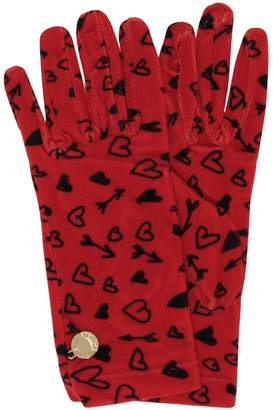 Moschino Heart Printed Chenille Gloves