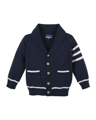 Andy & Evan Cotton Varsity Sweater, Navy/White, Size 3-24 Months