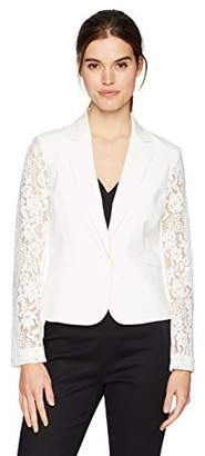 Nine West Women's 1BTN Shawl Collar Jacket with Lace Sleeves
