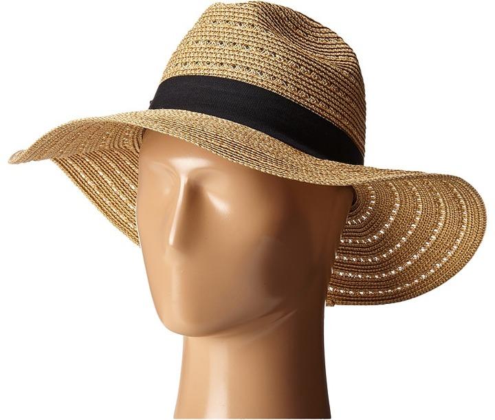 San Diego Hat Company - UBM4454 4 Inch Brim Panama Fedora Hat with Gold Lurex Specs Caps