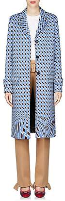 Prada Women's Geometric-Print Neoprene Topcoat - Blue
