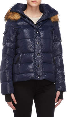 S13 Faux Fur Trim Hooded Down Jacket