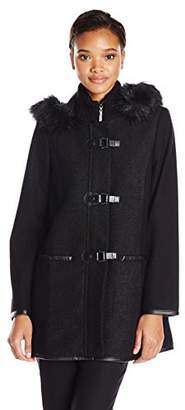 Kensie Women's Wool-Blend Duffle Coat with Faux Fur Trim $77.32 thestylecure.com