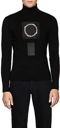 ALYX Men's Thorn-Crown-Patch Rib-Knit Wool Turtleneck Sweater - Black