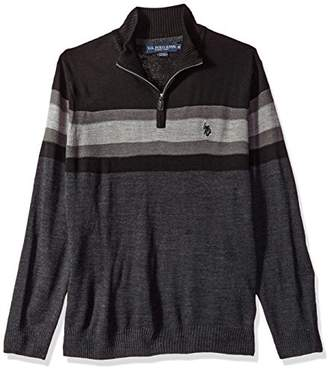 U.S. Polo Assn. Men's Acrylic Chest Stripe 1/4 Zip Sweater