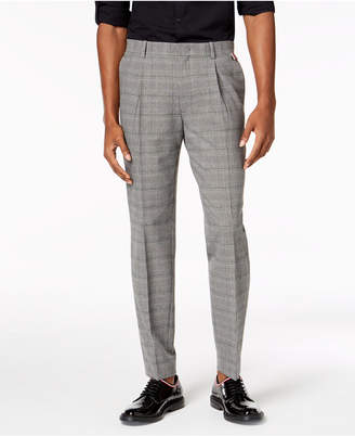 INC International Concepts I.n.c. Men's Slim-Fit Stretch Plaid Pleated Pants, Created for Macy's