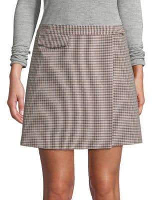 Theory Houndstooth Wool-Blend Mini Skirt