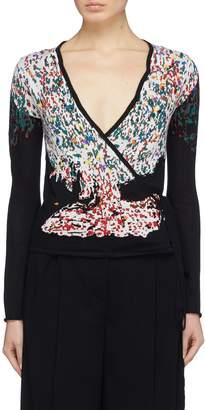 Sonia Rykiel x Sue Jin Kang graphic intarsia cashmere-silk wrap cardigan
