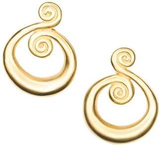 Kenneth Jay Lane Satin Gold Swirl Clip Earrings