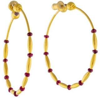 Gurhan 24K Ruby Hoop Earrings