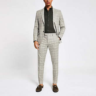 River Island Stone check print skinny suit trousers