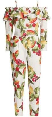 Isolda Cold-Shoulder Printed Linen Jumpsuit