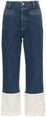 Loewe mid rise wide-leg contrast cuff jeans
