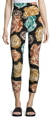 Norma Kamali High-Rise Floral-Print Cropped Sport Leggings $109 thestylecure.com