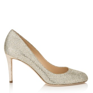Jimmy Choo BRIDGET 85 Champagne Glitter Fabric Round Toe Pump