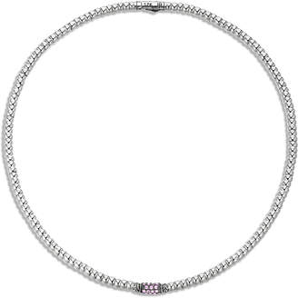 John Hardy Bedeg Rippled Slim Silver Lava Necklace with Pink Sapphires
