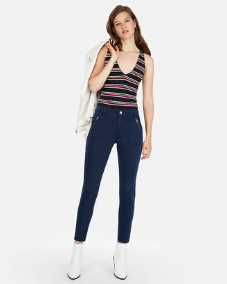 Express Petite One Eleven Stripe Double V Fitted Tank