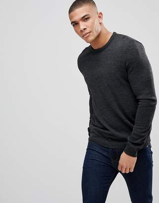Asos Crew Neck Sweater In Charcoal
