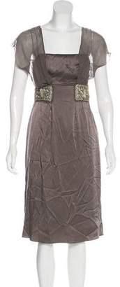 Philosophy di Alberta Ferretti Embroidered Satin Dress