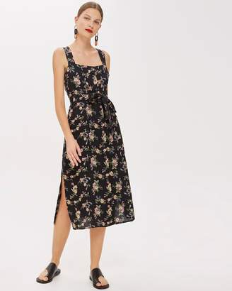 Topshop Linen Floral Pinafore Dress
