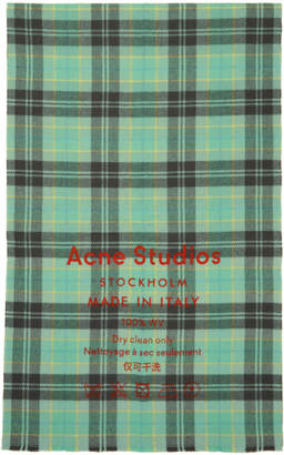 Acne Studios Grey and Blue Check Cassiar Scarf