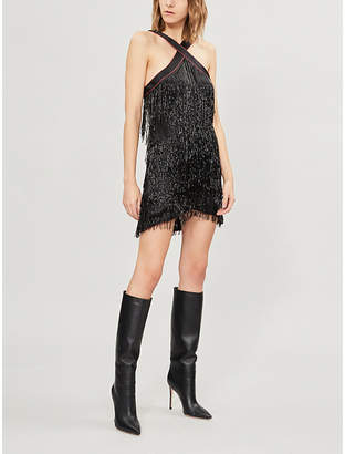Leon DE LA VALI beaded-tassel mini dress
