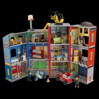 Kid Kraft Everyday Heroes Police and Fire Station Wooden Play Set