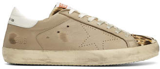 Golden Goose Tan Leopard Superstar Sneakers