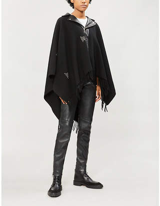 The Kooples Stud-embellished wool and leather cape