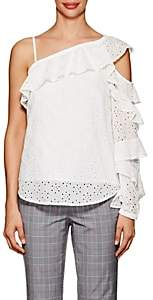 Robert Rodriguez Women's Floral-Embroidered-Eyelet Cotton Top - Cream