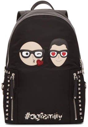 Dolce & Gabbana Black Designer Heads Backpack