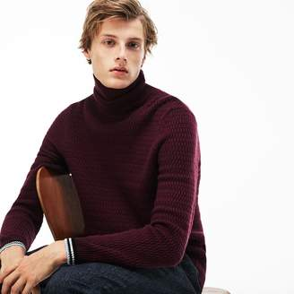 Lacoste Men's Ribbed Stand-Up Collar Sweater With Striped Accents