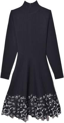 Lela Rose Lace Hem Dress in Black