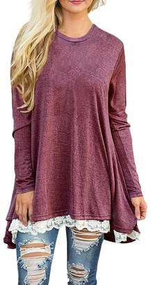 story. Fashion Women's Casual Lace Long Sleeve T-Shirt Dress S