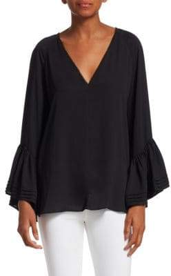 Halston Stretch Silk Tiered Bell-Sleeve Top