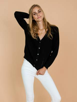 Goodnight Macaroon 'Nora' Black Distressed Rib-Knitted Button-Up Cardigan