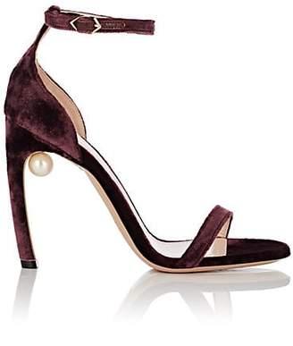 Nicholas Kirkwood Women's Mira Imitation-Pearl Velvet Sandals - Burgundy