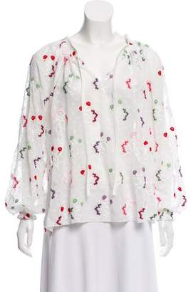 Giamba Embroidered Fil Coupé Blouse w/ Tags