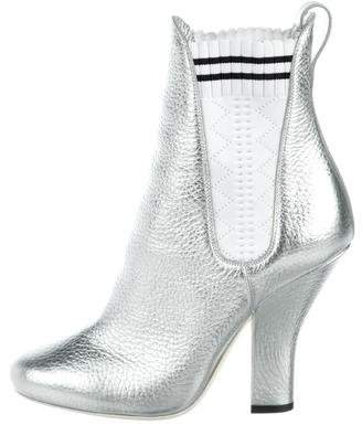 Fendi Metallic Ankle Booties