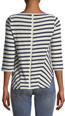 Neiman Marcus Striped Lace-Up Shoulder Tee