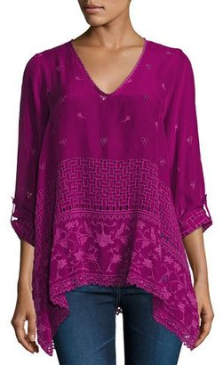 Johnny Was Sash Flare Georgette Tunic, Purple $270 thestylecure.com