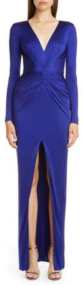 HANEY Gathered Slit Front Long Sleeve Gown